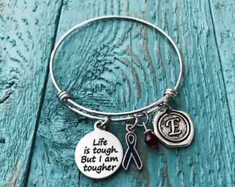 Life is tough but I am tougher, Silver Bracelet, Fighter, Survivor, Blue Ribbon, Awareness Ribbon, Chronic Fatigue Syndrome, Colon Cancer