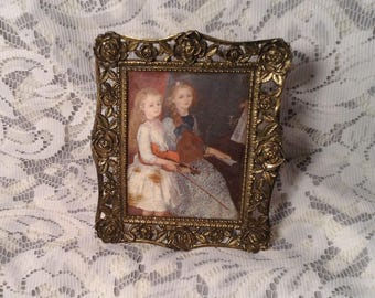 Small Fabric Picture with Ornate Metal Frame - Victorian Girls Playing Musical Instruments - Enesco Imports Japan