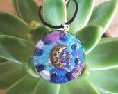 Orgone Pendant - Lapis Lazuli - Moon - Third Eye Throat Chakra Healing Lightworker Jewellery - Positive Energy - Medium