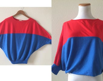 vintage 80's COLORBLOCK DOLMAN TOP - blue, red, small
