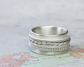 Rotary ring game ring four elements 925 Silver band ring, ball closure rings, cord ring, meditation, family ring