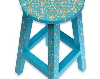 Ready to Ship-Hand painted Wood Stool-Mandala Design-Home Decor