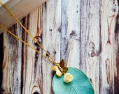 Patina Gold Leaf Pendant Necklace / Gold Butterfly Connector Necklace / Stainless Steel Chain / Resin Rose Charm Necklace