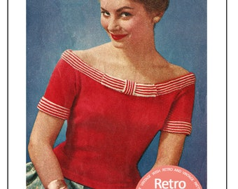 1950s Glamorous Off Shoulder Pin Up Sweater Knitting Pattern - PDF Knitting Pattern - Pin UP - Rockabilly - Instant Download Pattern