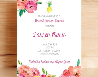 Tropical Bridal Shower Invitations (5x7 Floral Pineapple Shower Invites)