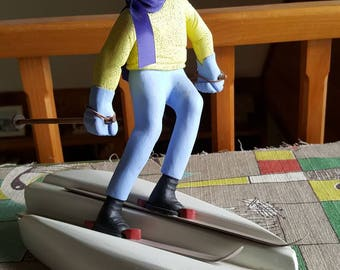 Vintage Hand Carved and Hand Painted Folk Art Skier by Karl Victor Johnson 1988  C821J