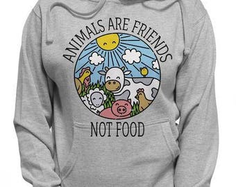 Distressed Animals Are Friends NOT Food | Vegan Vegetarian Herbivore Funny T Shirt | Cute Wild Animals Vegan Hoodie | Plants Greens Food Tee