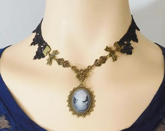 Cameo Pendant, Lace Necklace, Cameo Choker, Victorian Steampunk, Brutalist, Gothic, Goth Cameo Choker, Black Lace Choker, Grey Black Cameo
