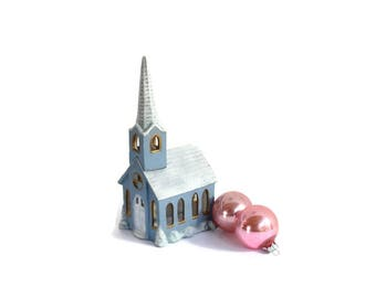Glittered Ceramic Church, Blue Snow Topped, Christmas Village Decor