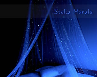 Glow in the Dark Star Canopy | Surround your bed with stars! | Unique Star Decor | + 200 - 1000 Extra Glow Star Stickers for Star Ceiling