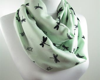 Dragonfly Scarf Infinity Scarf Animal Circle Scarf Women Pale Green Scarf Spring Summer Fall Winter Accessory 92