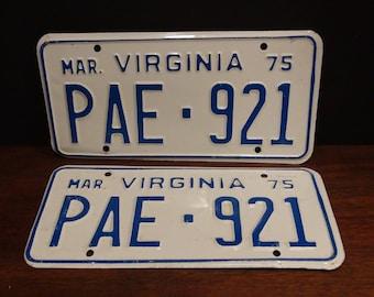 2 Vintage License Plates 1975 - Virginia License Plates - Man Cave