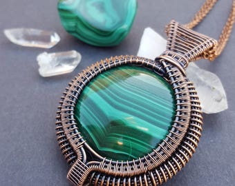 Malachite Copper Wire Pendant, Malachite Pendant Necklace, Copper Wire Wrapped Jewelry, Statement Wire Necklace, Unique Copper Necklace Wire