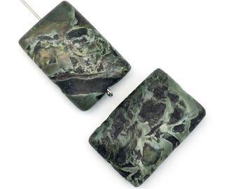 2 green leaf jasper beads coin shape ,20mm x 30mm #PP 136-2