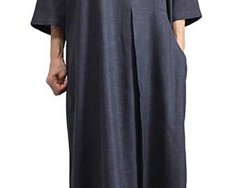 Soft Hemp Loose Long Big Pocket Dress (DNN-096-01)