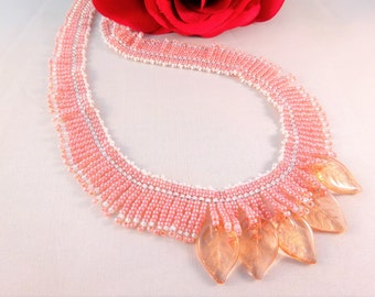 Pink Necklace for Girlfriend, Womans Jewelry with Leaves Elegant Necklace for Her, Chic Beadwork Fringe Necklace, Romantic Bead Jewelry