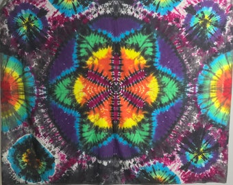 Tie Dye Tapestry, Seed of Life Wall Art, Trippy OOAK Hand dyed Sacred Geometry