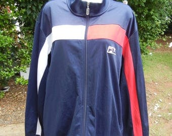 Vintage Red White Blue Big mens 1990s FILAS SPORT oversized lightweight zip up casual track jacket  (Size XXL/2XL)