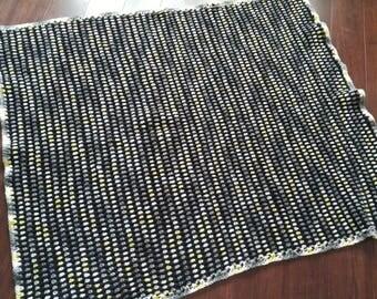 Wayne - throw blanket or lapgahn black, yellow, grey, white