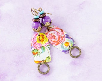 Pink Rose Vintage Tin Earrings with Purple and Turquoise Beads, Unique Boho Jewelry