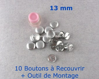 """10 Cover Buttons 1/2"""" (Size 20) with assembly tool"""