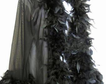 Feather Peignoir Black Feather Robe Sheer Black Robe Large