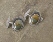 RESERVED FOR KH - Sterling Silver and Picture Jasper Cufflinks, One of a Kind Owyhee Jasper Men's Cuff Links