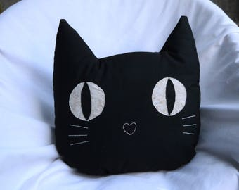 Black Cat Face Pillow with Gold Eyes