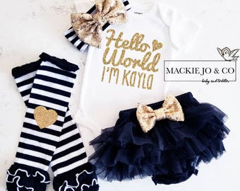 Hello World Customize Coming Home outfit gold glitter baby bodysuit leg warmer bloomer set gold and black baby girl set