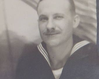 An American Patriot - 1940's World War II Era Sailor Boy Photo Booth Photo