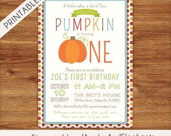 Pumpkin First Birthday Invitation - Little Pumpkin - Fall Birthday Invite - Halloween Party - Autumn Printable Invitations