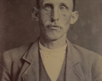 Life Was Always Difficult - Original 1870's American Man Tintype Photograph - Free Shipping