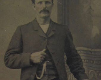 He Saw The World - Original 1880's Strong Young Mustache Man Tintype Photograph - Free Shipping