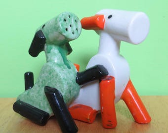Outstanding Mid Century Modern Dog Salt & Pepper Combination Shaker - Made In Japan - Free Shipping