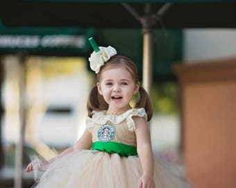 Starbucks tutu dress- starbucks costume- starbucks tutu-shopkins dress-starbucks birthday-starbucks -Frappe costume-Starbucks dress