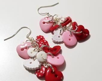 Hearts & Buttons Earrings