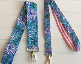 Lanyard Lilly Pulitzer inspired mayflowers ribbon