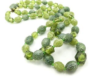Vintage Green Lucite Necklace, Two Strands