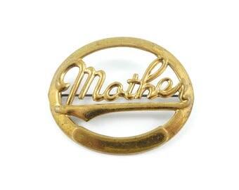 Vintage Mother Brooch, Brass Tone