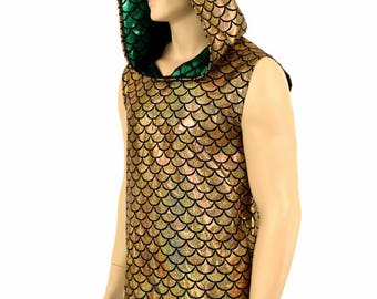 Mens Sleeveless Gold Dragon Print Holographic Green Spiked Dragon Hoodie Rave Festival Clubwear EDM Party Animal -151080