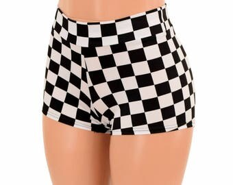 Black & White Checkered Mid Rise Shorts Festival Rave Hoop Dance Performance Shorts - 155073