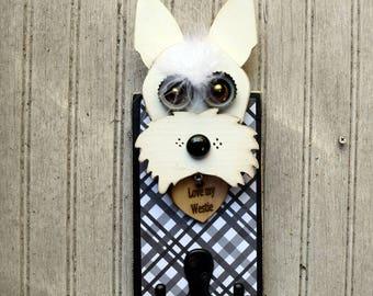 Dog Leash Holder, Reclaimed Wood Westie Dog Leash Holder, Handmade Dog