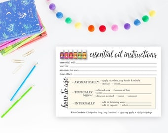 Printable Essential Oil Instruction Cards - EO recipes - 4 x 6 Card Fill In - Printable Customized Essential Oil Directions - Digital file