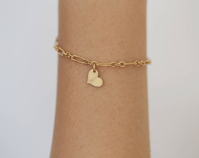 Personalized Heart Bracelet in Gold filled and sterling silver/ Lovely Gold Heart Bracelet with your initials/ Christmas Gift / Holiday Gift