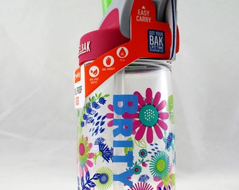 Personalized .4L Kid's Flower Camelbak Bottle - Water Bottle, Hydrate, Bite Valve, Student, Toddler, Flowers, Back To School, Daisies, Cute