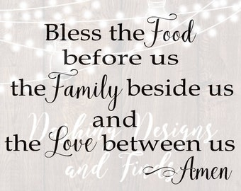 DIGITAL DOWNLOAD svg png kitchen bless the food before us family sign silhouette cricut cutting file vinyl HTV boy girl shirt print
