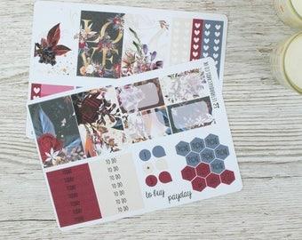 Dark Flowers Happy Planner Kit; Weekly Kit; TN Kit; Planner Stickers; Bullet Journal; Mambi; Mini Kit; Valentines Stickers; Feb Weekly Kit