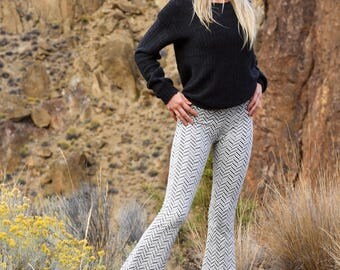 CHALET SWEATER quilted knit pants! fall fashion winter style bell bottom boho yoga gypsy hippie chic flare pants