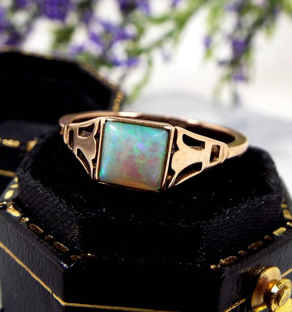 Antique Art Deco 9ct Gold Flashy Rainbow Blue Opal Square Solitaire Ring / Size M