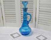 RESERVED Vintage Blue Glass Decanter Aqua Turquoise Pressed Glass Mid Century Barware Jeannie Bottle PanchosPorch